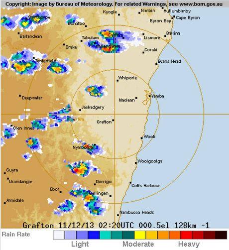 Bureau of Meteorology radar as at 1.30pm, Wednesday, December 11, 2013.