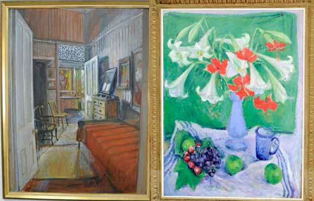 Margaret Olley's artworks Spare Bedroom and Lillies and Grapes, which were already in the Lismore Regional Art Gallery's collection.