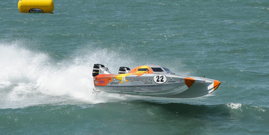 FLYING HIGH: Saracen gets some air on its way to sealing the 600hp championship series during the final round of the Offshore Superboat Championships at Hervey Bay.