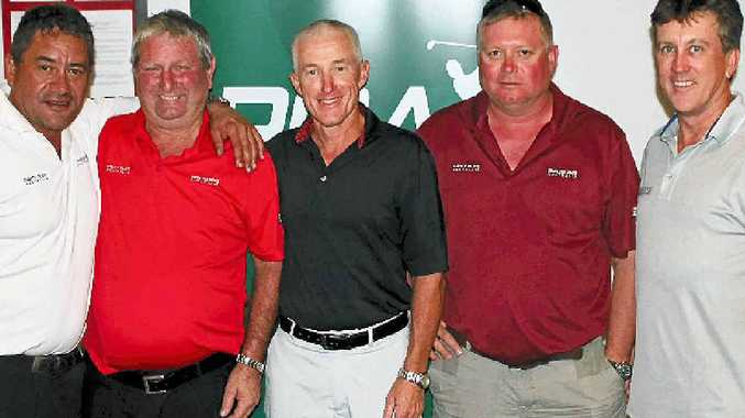 RUN AND WON: Anthony Gilligan, centre, rubs shoulders with the Tewantin Noosa Legends Pro-Am sponsors, from left, Peter Varcoe, John Beverley and Andrew Bevan, from Stainless Tanks Australia, and Dental Solutions' Chris Burton.