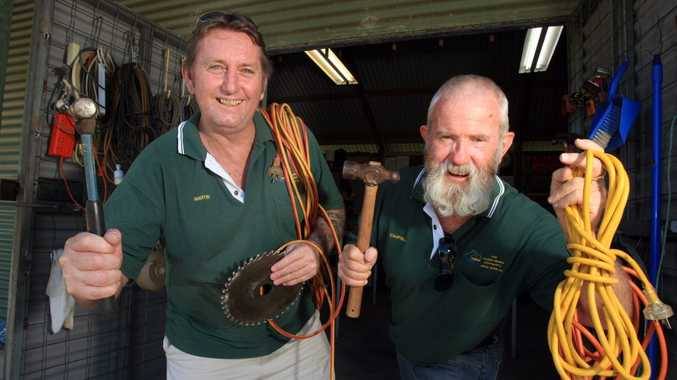 Martin Kinross and Campbell Morris at the men's shed in Tweed Heads.