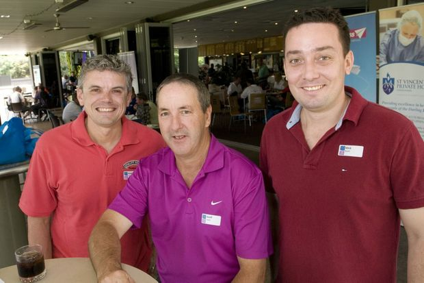 Image for sale: Quality Desserts team (from left) Brad Smith, Geoff Lewis and Mick Byatt at the Toowoomba Chamber of Commerce and Industry corporate golf challenge at Toowoomba Golf Club, Friday, December 13, 2013. Photo Kevin Farmer / The Chronicle