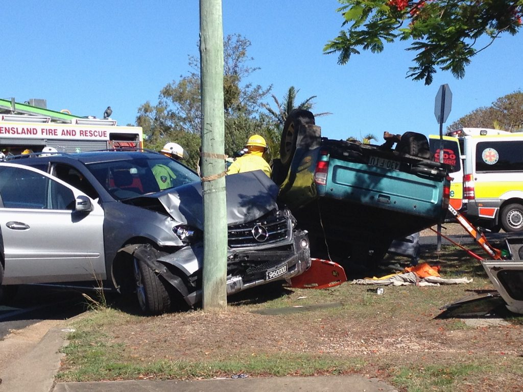 A two-vehicle crash on the intersection of Boat Harbour Dr and Queens Rd in Hervey Bay.