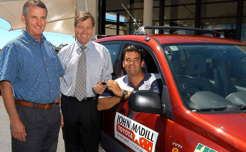 Garth and John Madill hand over the keys to Noosa Shire Lifeguards services manager Scott Braby. Garth and John are big believers in the Holden brand.