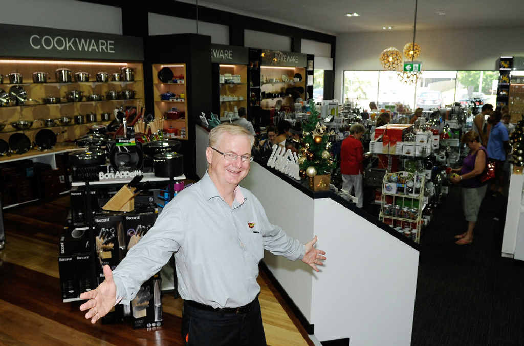 Porters strategic marketing manager Mike Allsop welcomes shoppers into the newly refurbished Porters store on Brisbane St.