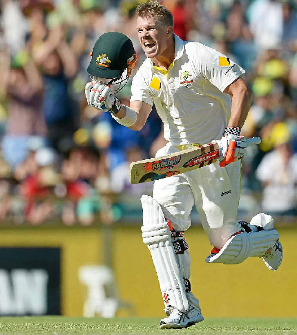 TON OF FUN: Australian batsman David Warner celebrates his century on the third day of the third Ashes cricket Test match in Perth yesterday.