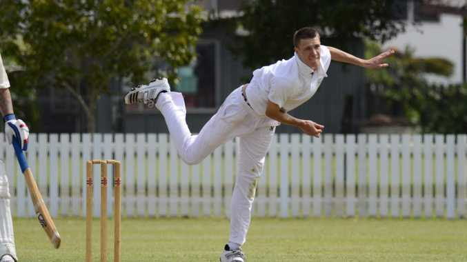 Lower clarence spin bowler Daley Durrant send a delivery down against Inverell in Sunday's SCG Country Plate clash at harwood Oval.