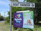New signs pointing to the Splash Bay water park development at Urangan.
