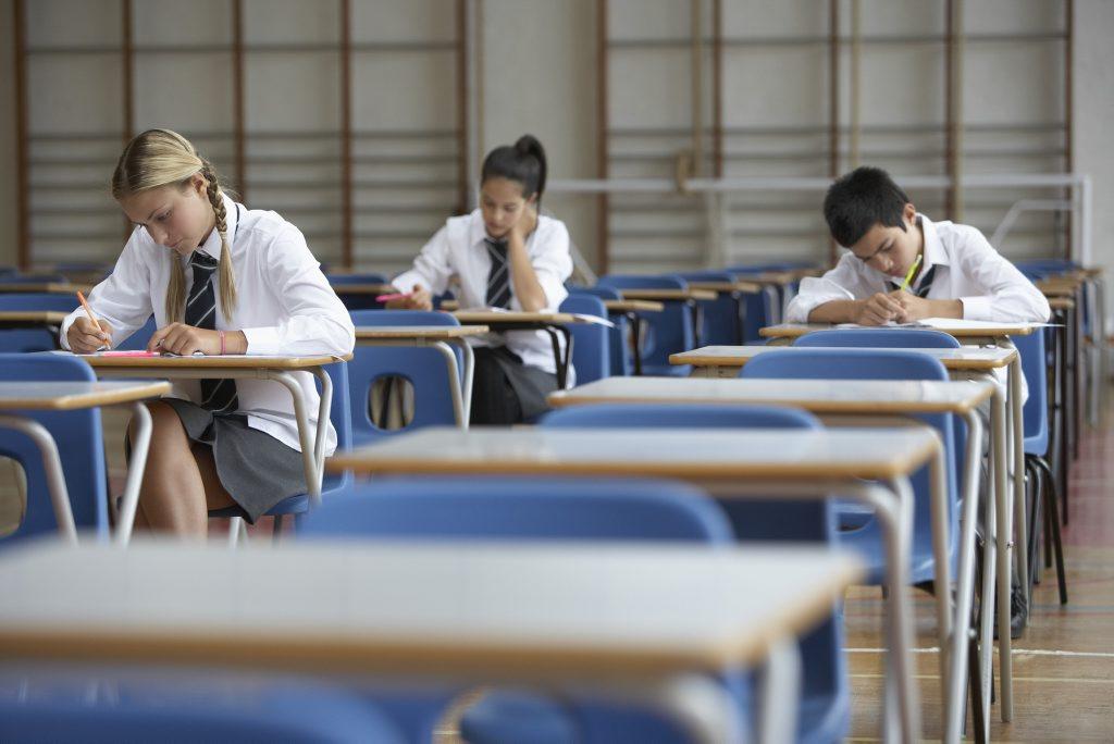 High School Students Sitting Exam