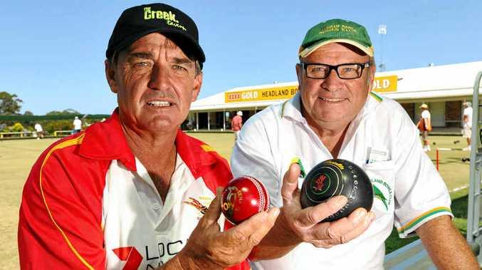 NO SHORT STUFF PLEASE! Sunshine Coast Scorchers batting coach Craig Peck (left) prepares to take on Graham Urquhart and his Headland team in their annual bowls challenge at Headland Bowls Club, Buderim, on Sunday.
