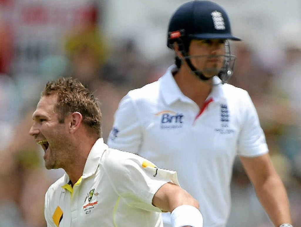 CAPTAIN COOKED: Ryan Harris celebrates dismissing England captain Alastair Cook first ball on day four at the WACA.