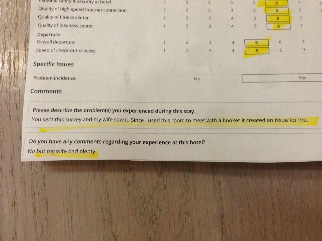 The returned survey.