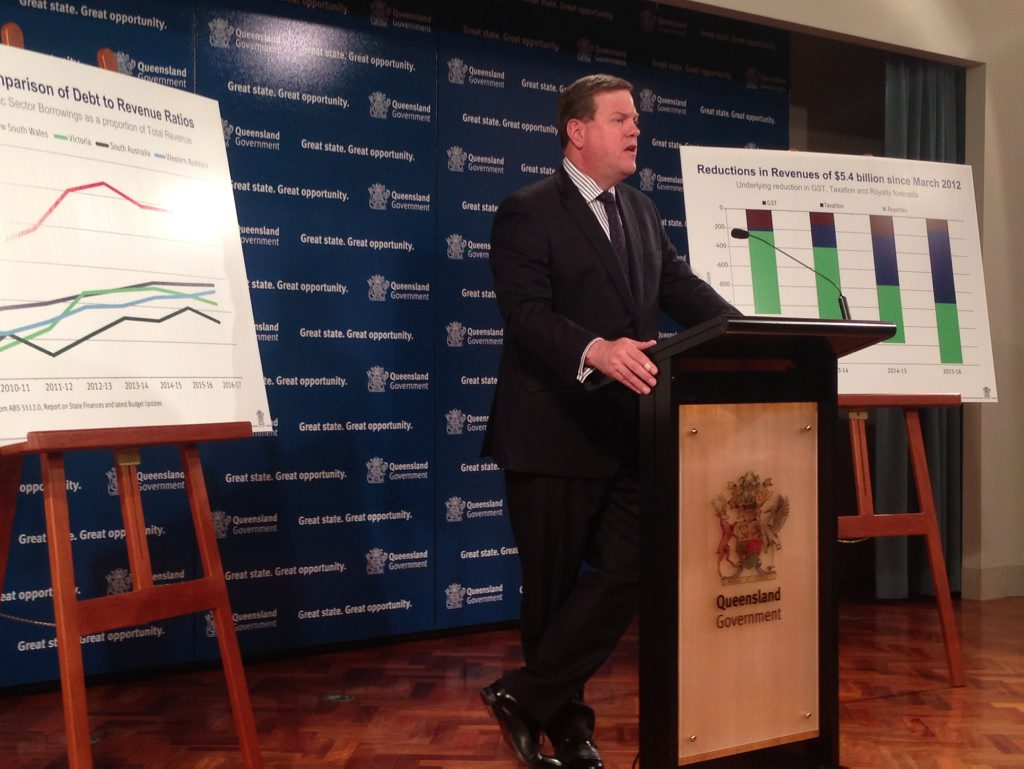 Queensland Treasurer Tim Nicholls delivering the mid-year economic an fiscal review on Wednesday, December 18, 2013.