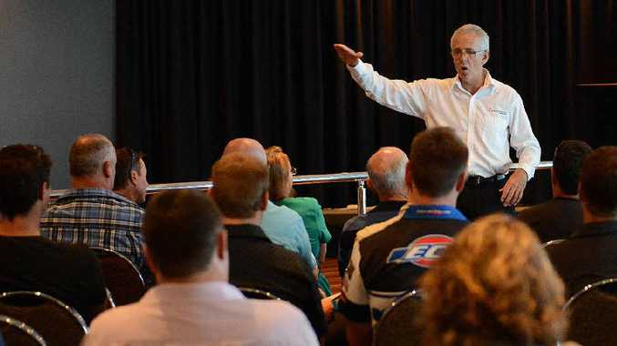 Barry Crook from Energy Skills Queensland talks to former J Smith and Sons employees about finding work in the energy sector.