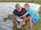 Catching big barra is child's play for three-year-old Callum
