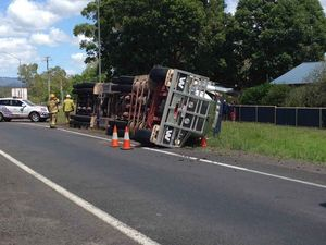 Video captures cattle truck roll over on Warrego Hwy