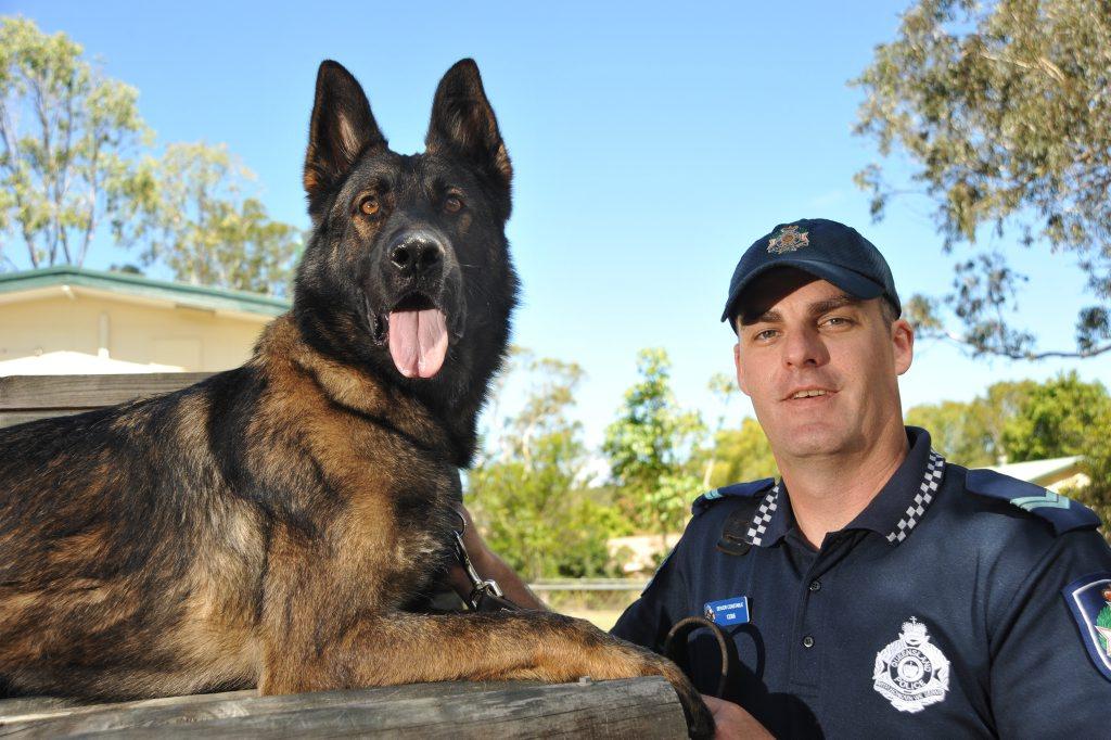 Police dog handler senior Constable Justin Mergard with DJ.