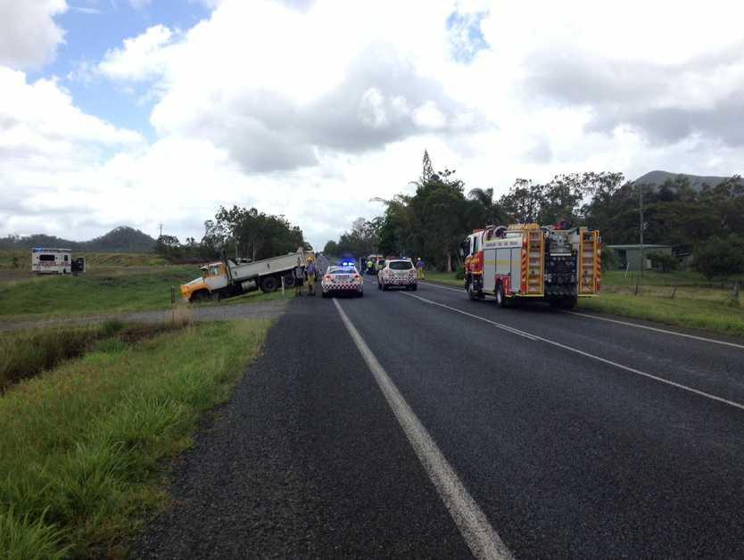 A crash has closed the Bruce Hwy near Hampden.