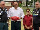 Magpies AFC's Noel Lang, MP Jason Costigan, Magpies club director Carol Hodge, Magpies Cricket's Glen Cole.