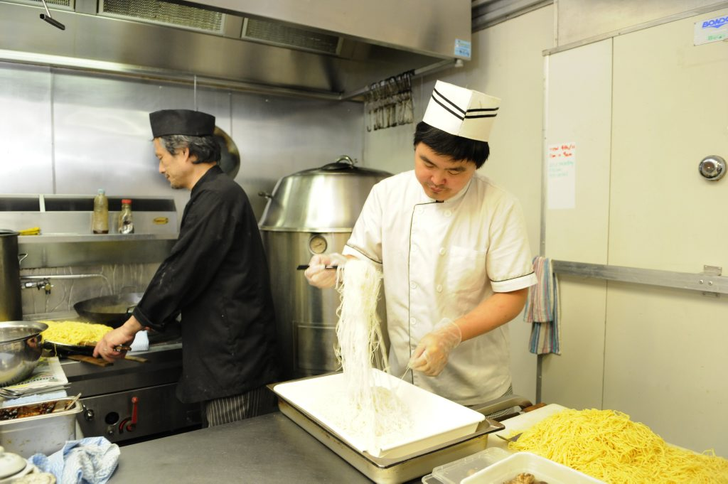 Qi'lin Oriental Cuisine Restaurant in the Hooper Cetnre. Head Chef & Manager, Stanley Poon (left) and chef Feng bin Chang. Photo: Bev Lacey / The Chronicle