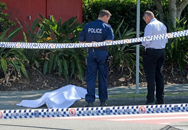 A body was found on Francis Street outside the Target loading bay at Centro Tweed Shopping Centre.