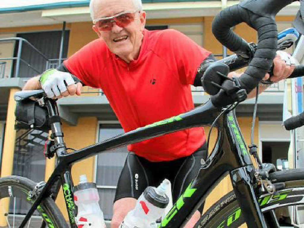 BOB'S ON THE JOB: Bob Montgomery rode through the area this week on his way to Port Douglas to raise awareness about motor neurone disease.