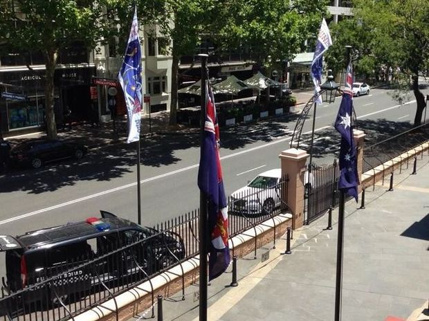 Police have been called in after a car parked outside NSW Parliament is reported to have an explosive device in it. Photo: Twitter