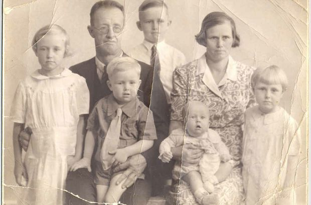 FAMILY PHOTO: Ella and Jack McLennan with five of their children from left Dothery, Ken (back), John (front), Bob (baby), and Ada (right)