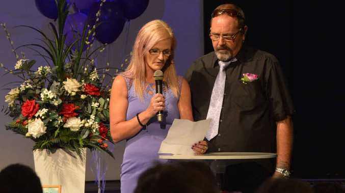 Liza Sterlson speaks at her mum's funeral.