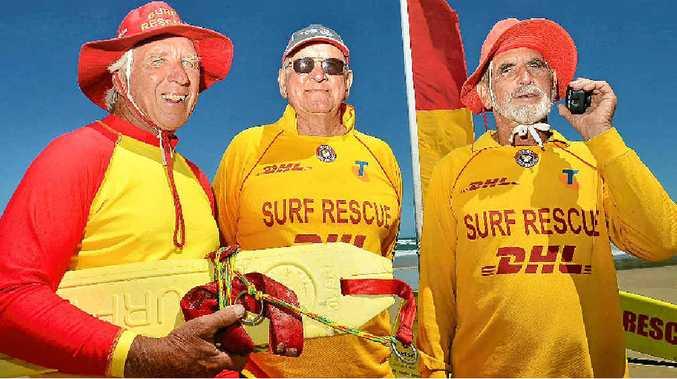 SENIOR SERVICE: Volunteer lifeguards on duty at Coolum Beach yesterday (from left) Dave Cush, 67, John Robinson, 74, and Ken Cameron, 70.