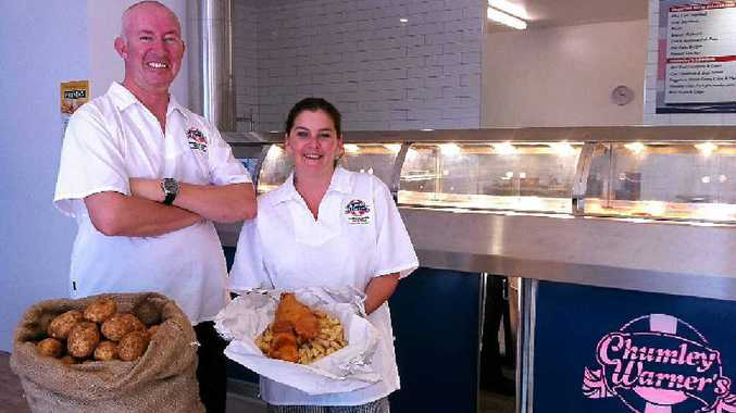 JUST ADD VINEGAR: Chumley Warner's Sunshine Coast owner Stuart Excell and manager Heidi Woodman offer British-style fish and chips.