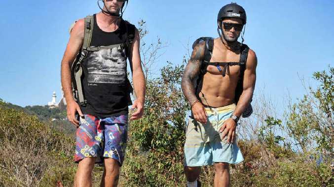 RAISING AWARENESS: Ben Smith and Dylan Dhamu skating through Byron Bay on their way to Burleigh Heads to raise money for Sea Shepherd