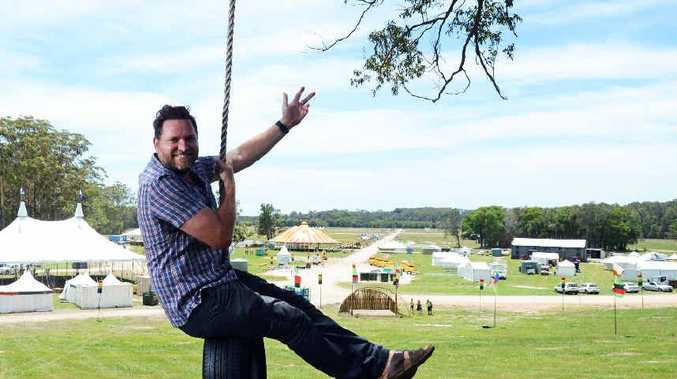 IN THE SWING: Byron Shire Mayor Simon Richardson at the 2013 Falls Festival site at Yelgun.