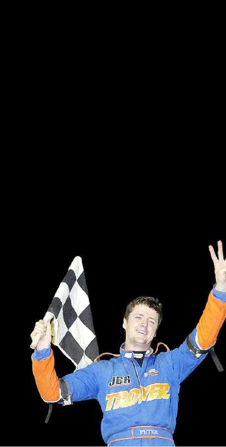 OUT TO WIN: Peter Britten celebrating victory at Lismore in 2011. He will be hoping to impress at this Thursday's Boxing Day meeting at the Lismore Showground.