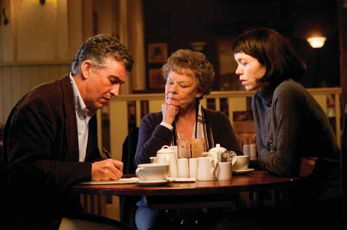 FOR REVIEW AND PREVIEW PURPOSES ONLY. From left, Steve Coogan, Judi Dench and Anna Maxwell Martin in a scene from the movie Philomena. Supplied by Image.net. Please credit photo to Alex Bailey. For Hopscotch eOne film release. For more info ph 02 8303 3800