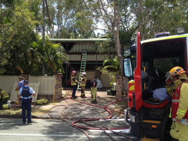 A fire has broken out at a Moffat Beach house.