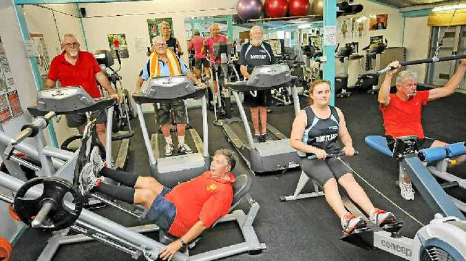 SHUT OUT: Gym users Hassell Burcher, Mark Henry, John Groves, Frank Finch, Kevin Ibbetson, Bruce McKenzie, Tim Burgess and Emmsaline Clark are unhappy the Kyogle community gym is going up for sale.