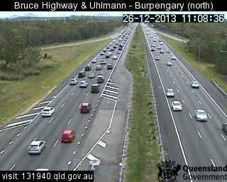 Traffic is building on the Bruce Hwy between Caboolture and Caloundra.