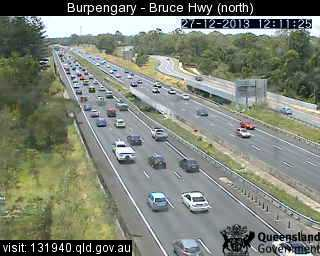 Traffic on the Bruce Hwy at Burpengary.