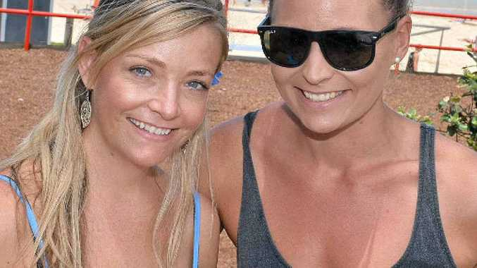 THAT'S COOL: Rebecca Danieli and Jenna McIvor went to the beach to try to beat the heat yesterday.
