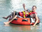 Escaping the heat in Hervey Bay - tubing in Urangan, Zane and Josh Green. Photo: Valerie Horton / Fraser Coast Chronicle