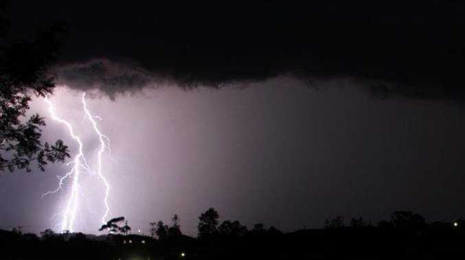 Shutterbug. A double whammy lightning bolt looking SW of Gympie taken from Cartwright Rd Sunday night. Wayne Hewitt