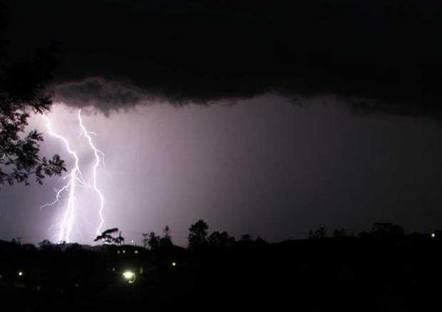 Shutterbug. A double whammy lightning bolt looking SW of Gympie taken from Cartwright Rd Sunday night. Wayne Hewitt