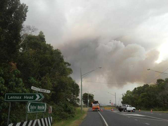 Ross Lane at Lennox Head has been closed as Rural Fire Service crews conduct backburning operations. Photo Patrick Gorbunovs / The Northern Star