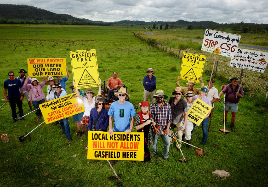 GETTING READY: Anti-CSG activists prepare the protest site at Bentley.