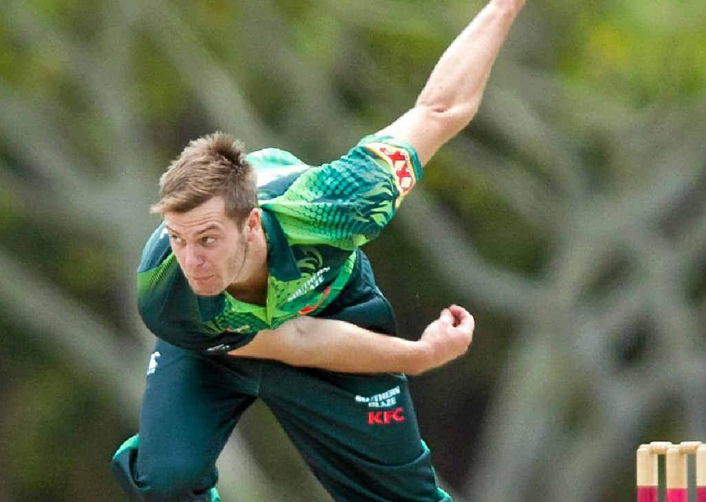 Paceman Mark Steketee in action in Brisbane.