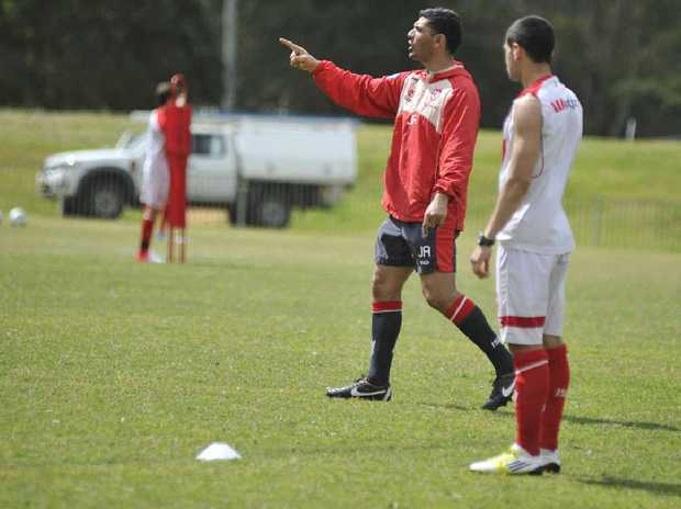 SACKING: John Aloisi with the Melbourne Heart squad.
