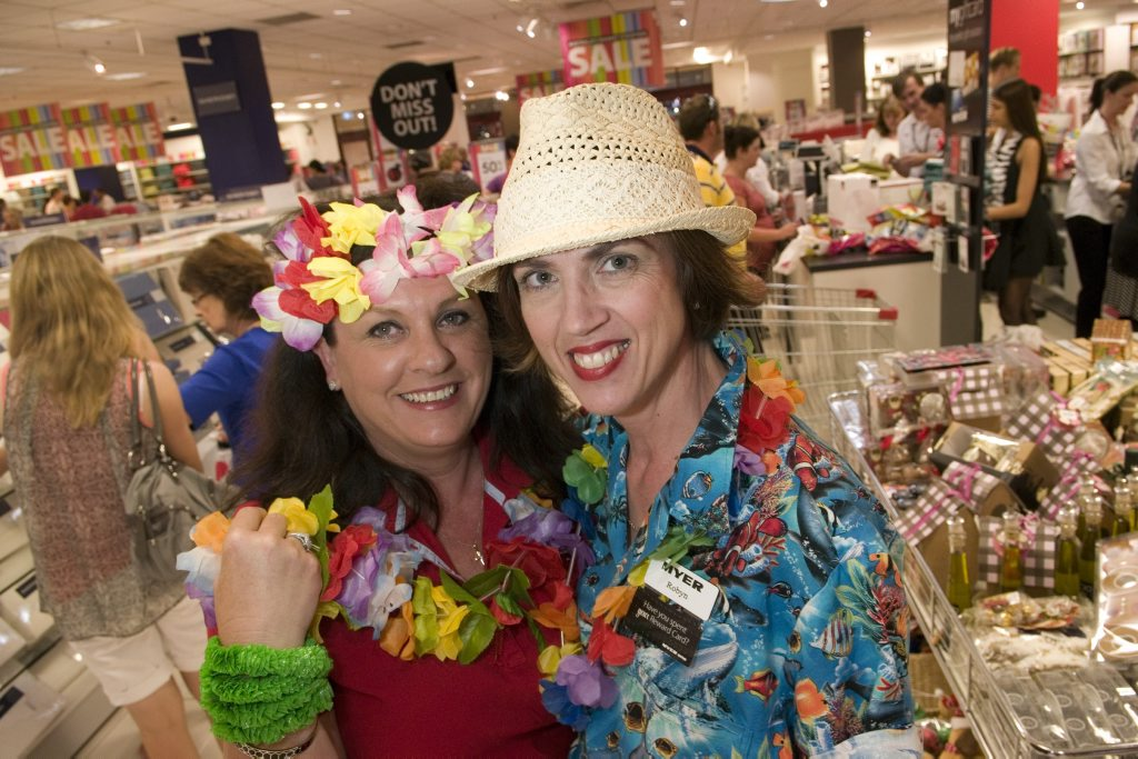 Myer staff Debra Brown (left) and Robyn Kaddatz dressed for fun although they had to work at the Boxing Day sales at Myer Toowoomba, Thursday, December 26, 2013. Photo Kevin Farmer / The Chronicle