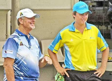 ABOVE LEFT: Plenty to smile about for home player Kevin Fuller (left) and Beenleigh's Nic Gosley during this year's Summerland Pairs at Ballina Cherry Street Bowls Club.