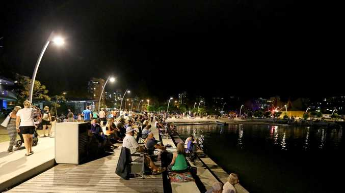 Jack Evans Boat Harbour NYE celebrations: The boardwalk was packed with people ready to watch the fireworks display. Photo: Nolan Verheij-full / Daily News